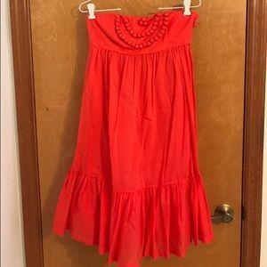 Red Pom-Pom Strapless Dress Gap
